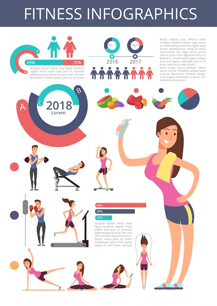 Sports and healthy life vector business infographic with sport person characters, charts and diagrams Premium Vector