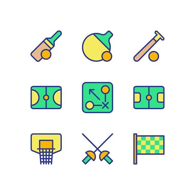 Sports icon set collection color Premium Vector