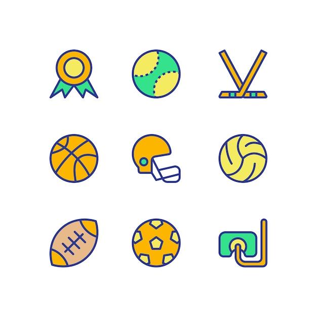 Sports icon set color Premium Vector