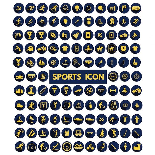 Набор большая коллекция спортивных иконок Бесплатные векторы