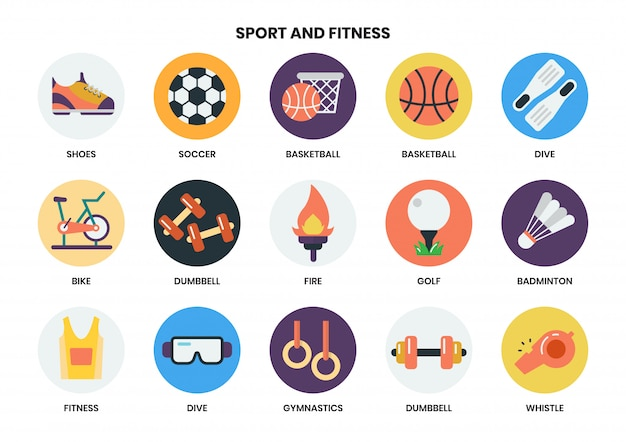 Sports icons set for business Premium Vector