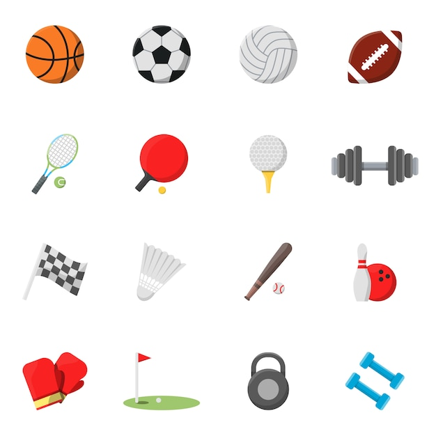 Sports icons set. vector pictures in flat style Premium Vector