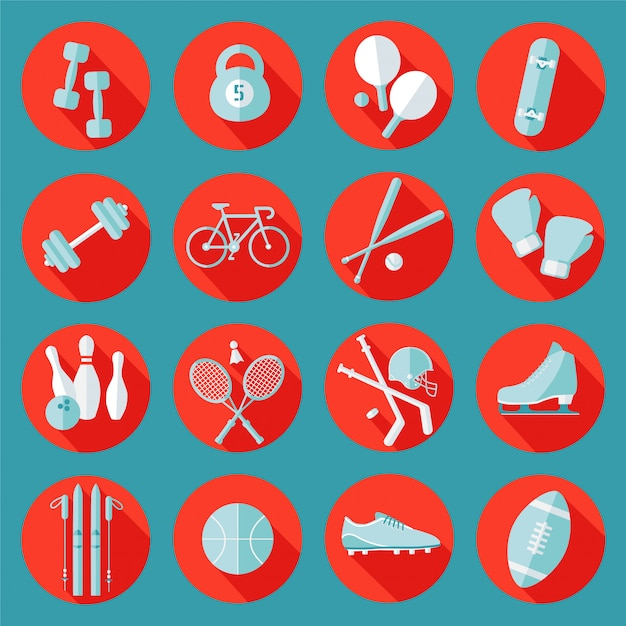 Sports icons set Premium Vector