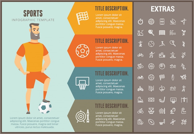 Sports infographic template, elements and icons Premium Vector