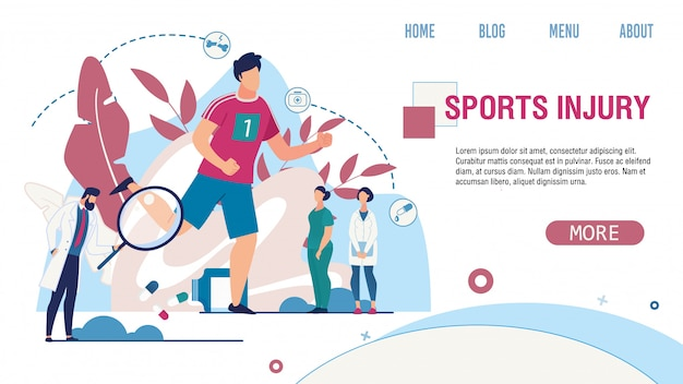 Sports injury treatment service flat landing page Premium Vector