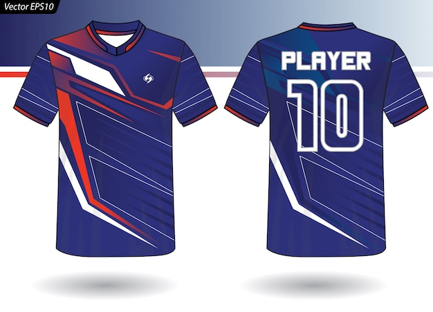 Sports jersey template for team uniforms Premium Vector