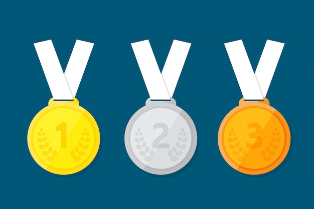 Sports medal for the top three winners. Premium Vector