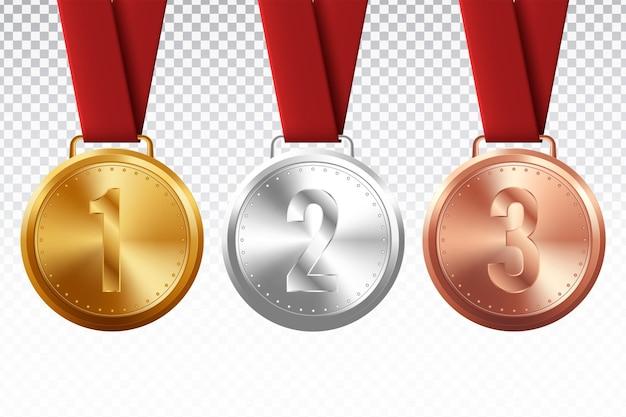 Спортивные медали. золотая серебряная бронзовая медаль с красной лентой Premium векторы