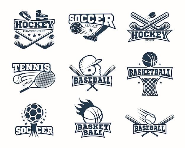 Монохромные спортивные логотипы Premium векторы