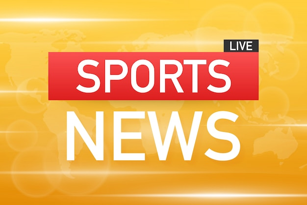 Sports news live on world map background. vector stock illustration Premium Vector