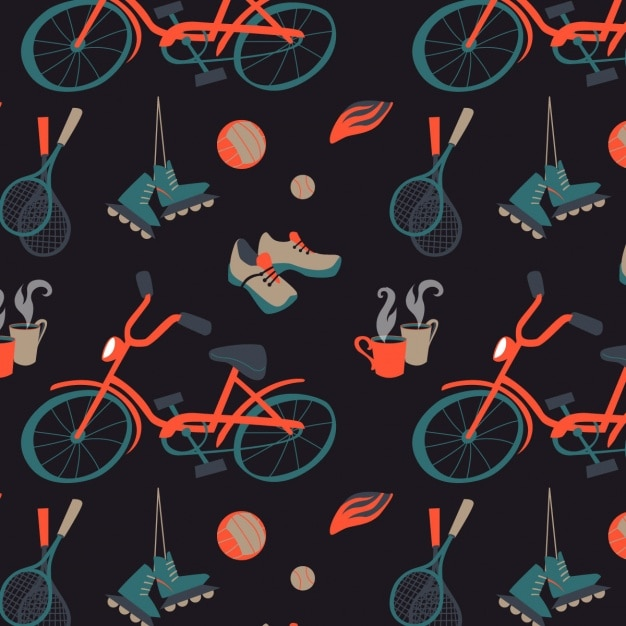 Sports pattern design Free Vector