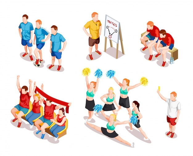Sports performer characters set Free Vector