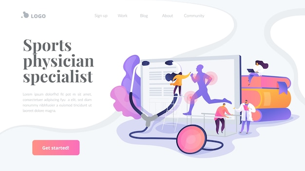 Sports physician specialist landing page template Free Vector