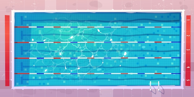 스포츠 수영장, 푸른 찢어진 된 물으로 평면도. 무료 벡터