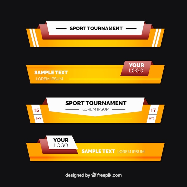 Sports Programs Lower Thirds Pack Vector Free Download