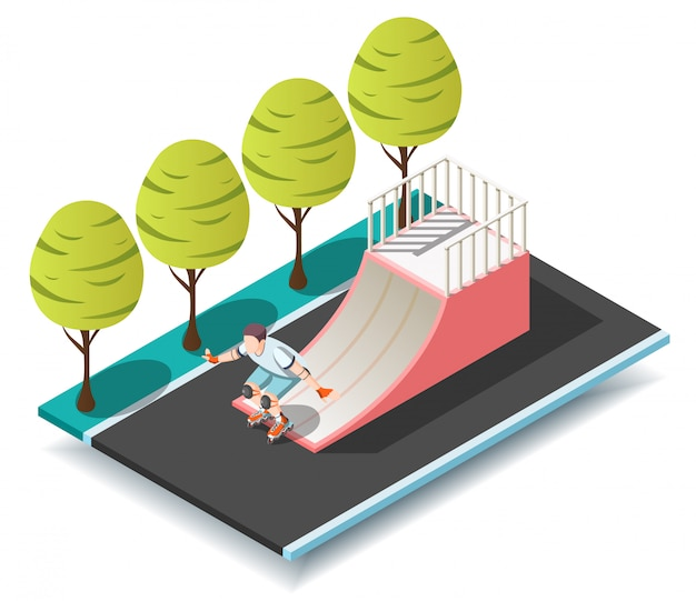 Sports ramp for roller and skateboarders Free Vector