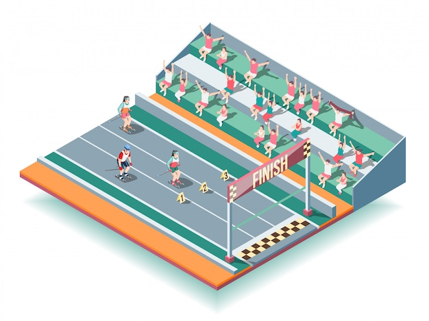 Sports rollers competitions isometric background Free Vector