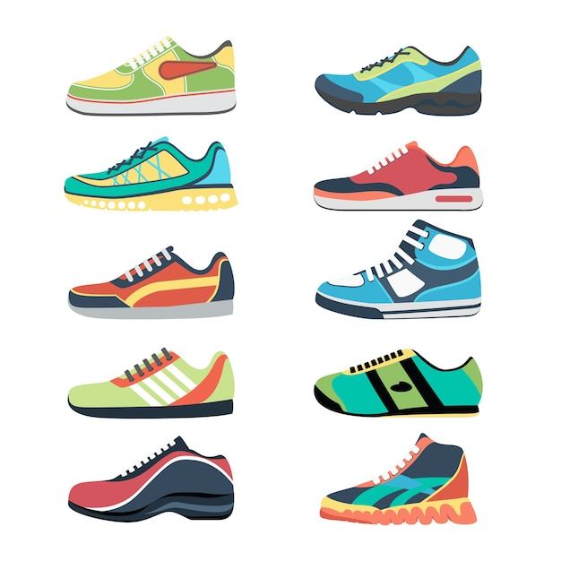 Sports shoes  set. fashion sportwear, everyday sneaker, footwear clothing Free Vector