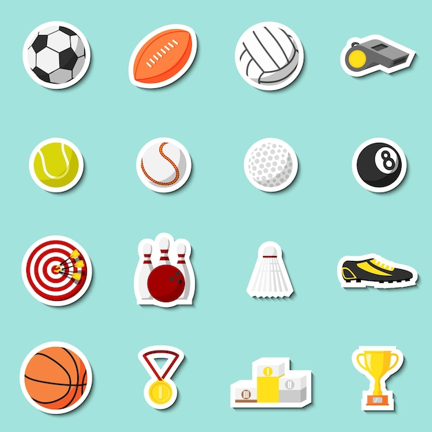 Sports stickers set of football baseball\ basketball and tennis balls isolated vector illustration