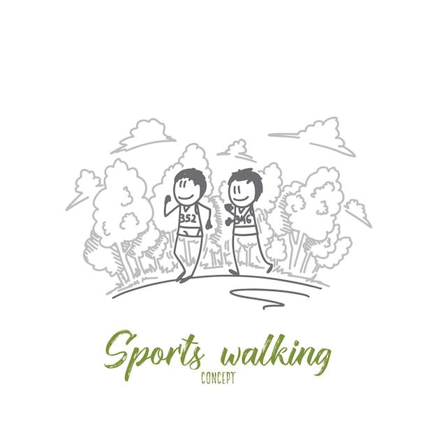 Иллюстрация концепции спортивной ходьбы Premium векторы