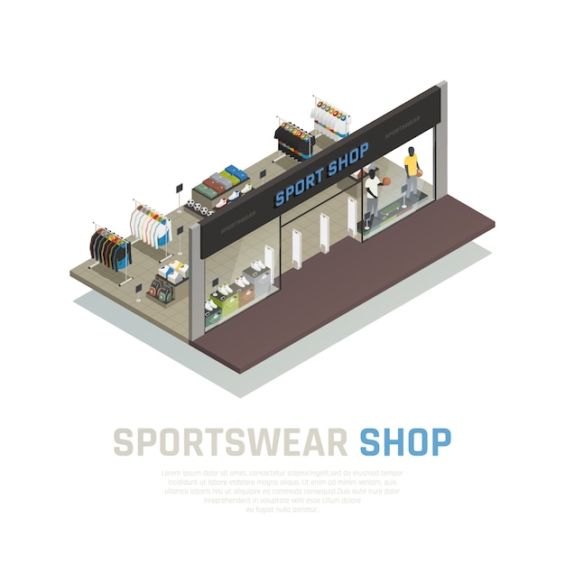 Sports wear shop isometric composition with outside view show case with mannequins clothing and shoes Free Vector