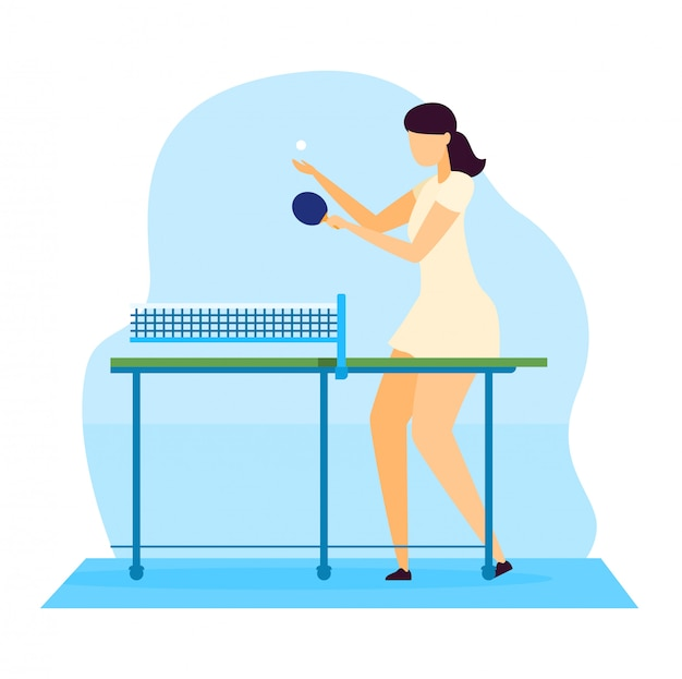 Sportsman  illustration, cartoon  young woman character playing ping pong table tennis with racket  on white Premium Vector