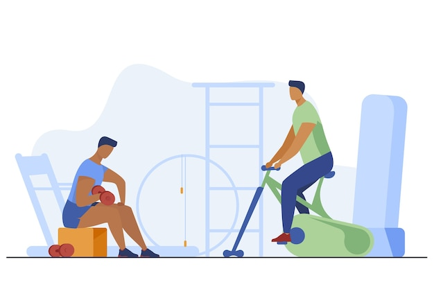 Sportsmen training with equipment in fitness club. gym, muscle, cardio flat vector illustration. sport and healthy lifestyle Free Vector