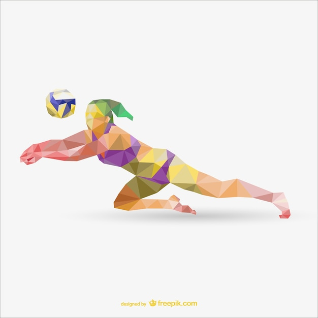 Sportwoman playing voleyball geometry Free Vector