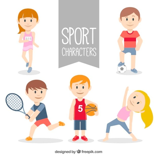 Sporty character collection Free Vector