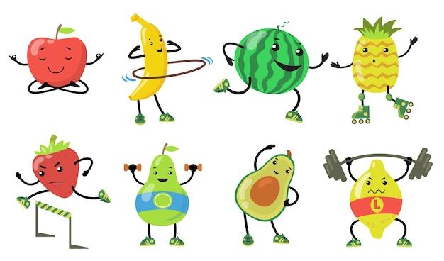Set di frutti sportivi. cartone animato pera, mela, avocado, fragola che fa yoga, corsa e sollevamento pesi in palestra. illustrazioni vettoriali piatte per cibo sano, benessere, concetto di stile di vita Vettore gratuito