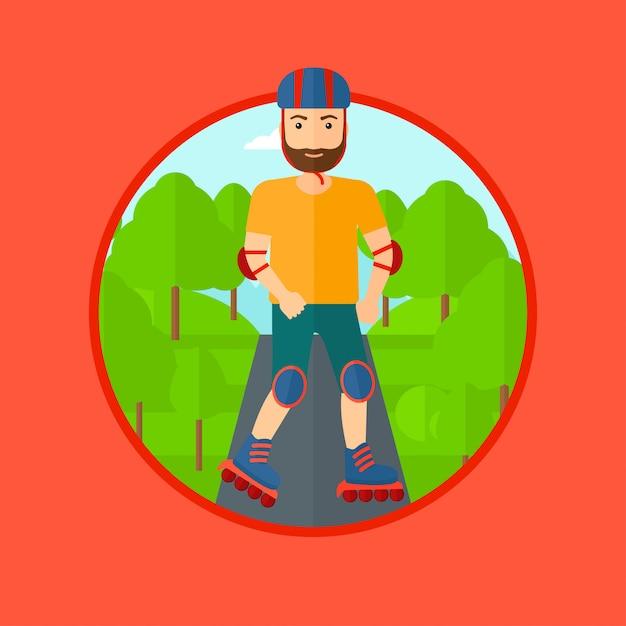 Sporty man on roller-skates. Premium Vector