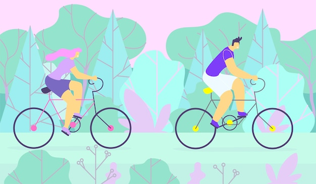 Sporty man and woman couple cycling in forest Premium Vector