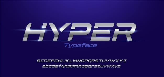 스포티 한 현대적인 타이포그래피 알파벳 글꼴 세트 프리미엄 벡터