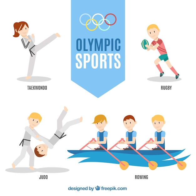 Sporty people doing olympic sports Free Vector