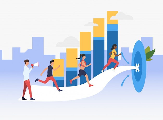 Sporty people running to target with bar chart in background Free Vector