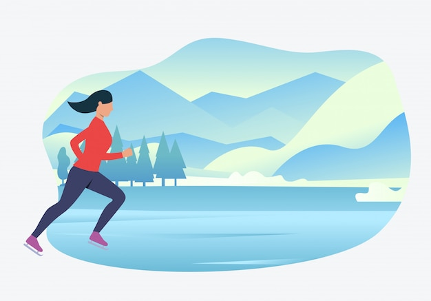 Sporty woman ice skating with snowy landscape in background Free Vector