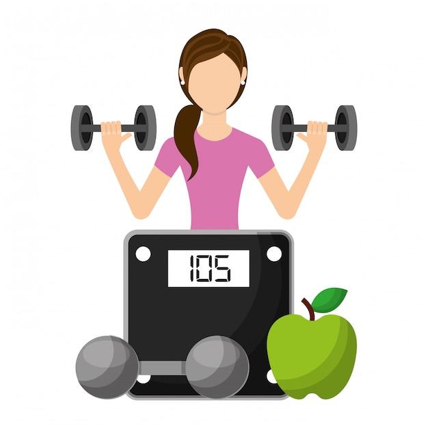 과일과 체중 규모와 무거운 중량 바벨을 들어 올려 스포티 한 여자 프리미엄 벡터