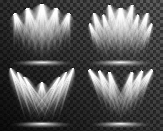 Spot light illumination collection stage vector transparent Premium Vector
