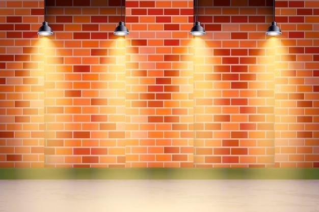Spot lights background brick wall and grass Premium Vector