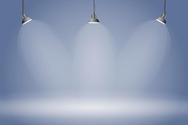 Spot lights background dark blue studio Premium Vector