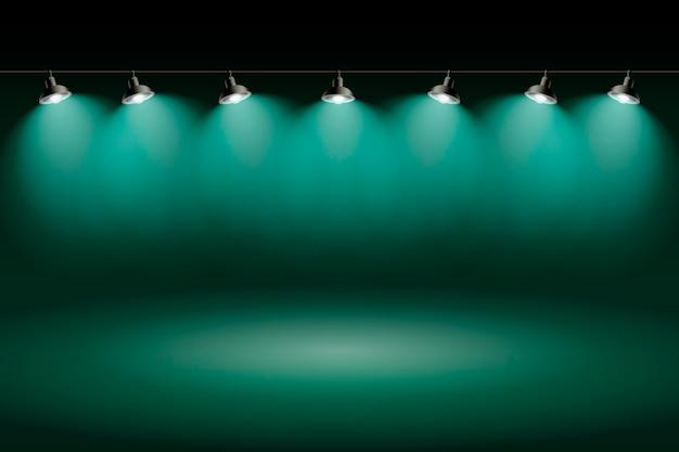Spot lights background green studio Free Vector