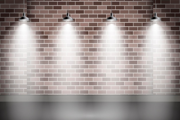 Spot lights background illuminating the wall Free Vector