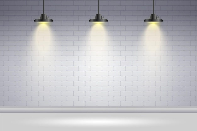 Free Vector Spot Lights Background White Brick Wall
