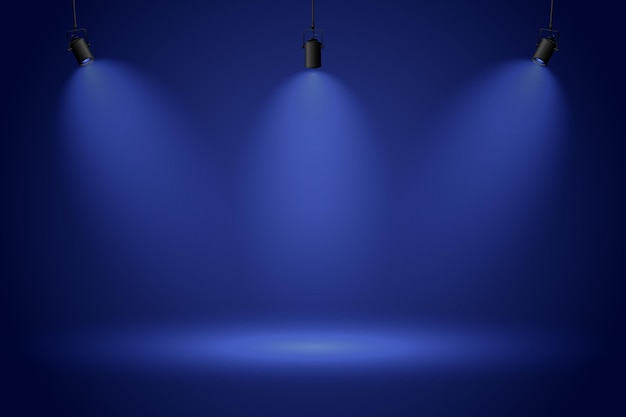 Spot lights on dark blue background Premium Vector
