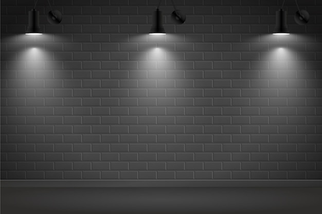 Spot lights on dark brick wall background Free Vector