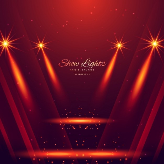 Spot lights on red background Free Vector