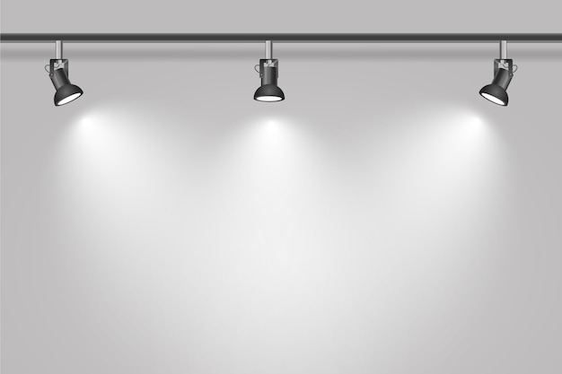 Spot lights on studio white wall background Free Vector