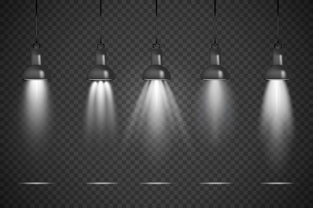 Spot lights transparent studio background Free Vector