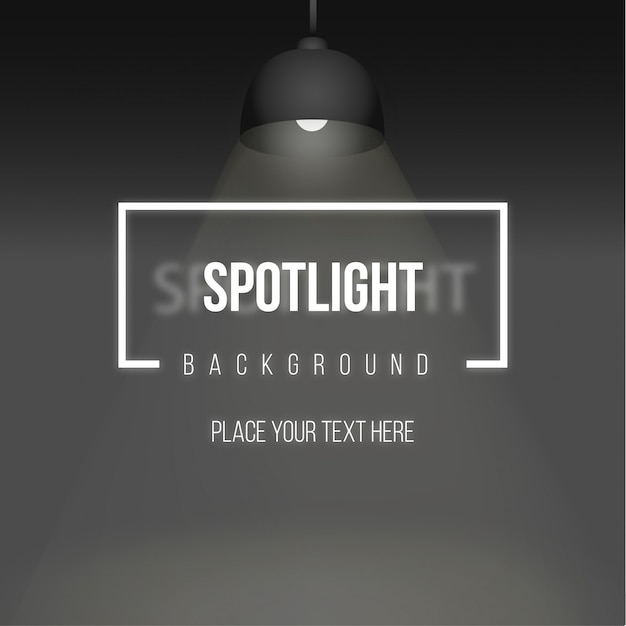 Spotlight background with realistic lamp Free Vector