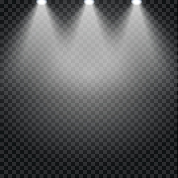 극장 콘서트 무대를위한 스포트라이트 효과. 스포트 라이트의 추상 빛나는 빛은 투명에 배경 조명. 프리미엄 벡터
